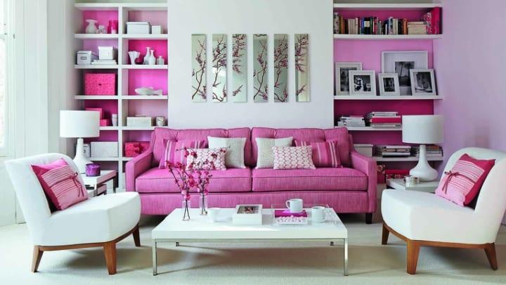 sofa rosa y moqueta